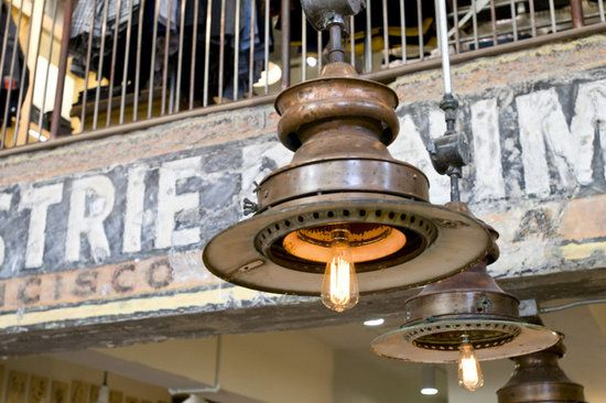 light fixtures made from hub caps, etc.