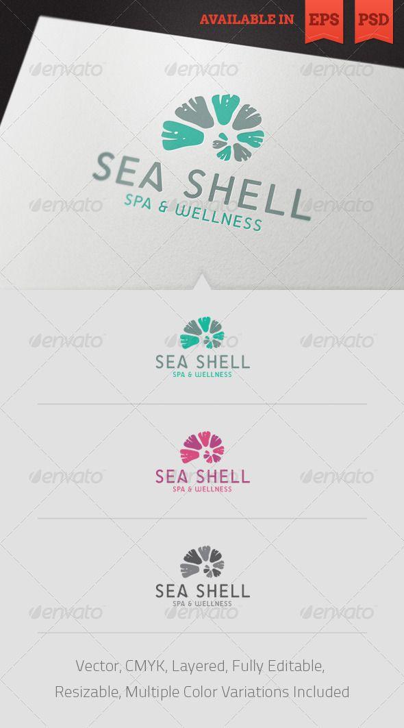 Seashell Spa Logo Template — Photoshop PSD #shopping mall #spa center • Avai...