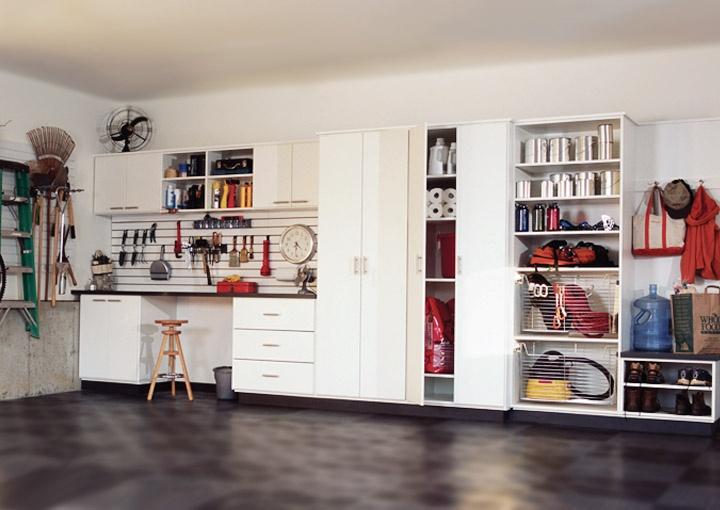 Captivating Inspiring Garage Workbench Design Ideas: Black Flooring Unit Color Idea  Applied On Garage Workbench Design Equipped With White Interior Design Ideas  Plan ... Part 25