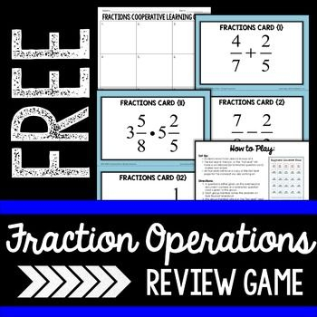 About this resource : This free cooperative learning activity has students practice basic operations with fractions while playing a game. How to play : Students are given one or two step fraction problem to solve.