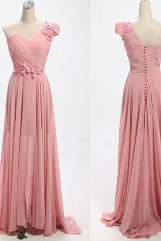 Charming Pink One Shoulder Long Bridesmaid Dresses, Pink Bridesmaid Dresses, Formal Dresses
