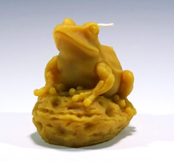 Beeswax Candle Bull Frog by GardenGateDesign on Etsy