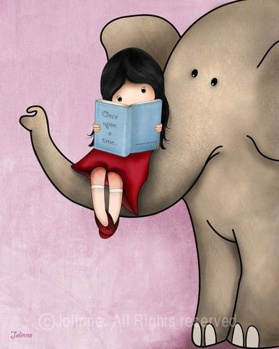 Once upon a time © Jolinne (Artist, Tel Aviv, Israel) via Etsy. Art, Print, Girl, Reading, Book, Elephant.