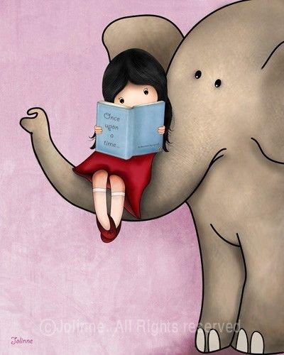 Once upon a time © Jolinne (Artist, Tel Aviv, Israel) via Etsy. Art, Print, Girl, Reading, Book, Elephant.