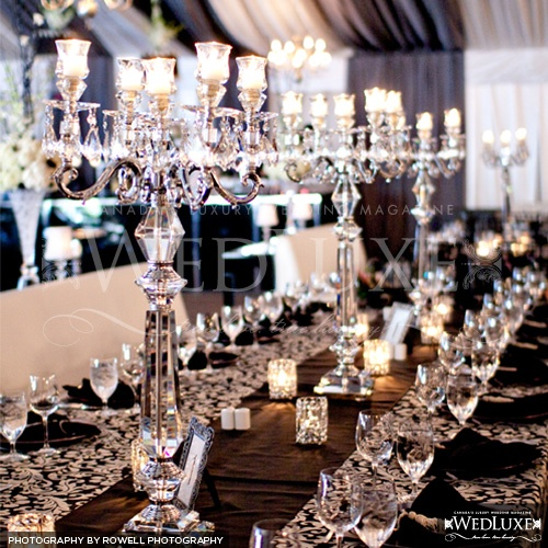 Black and White Wedding Crystal Lamps