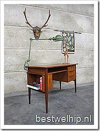Danish vintage desk mid century design bureau Deense stijl Pastoe vintage retro loft