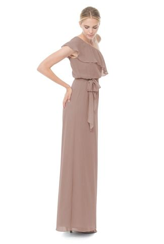 Joanna August 8 Th Avenue Long Bridesmaid Dress in Brown in Chiffon