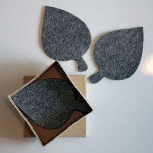 Onderzetters van vilt en rubber in de vorm van een blad - per 6 stuks verpakt