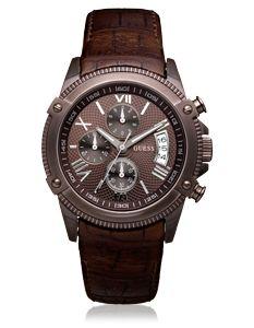 Guess - Réf: W18543G1 - Descritpion: Montre Guess Homme chronomètre dont le bracelet est en cuir marron. Cette montre Guess possède un boitier en acier plaqué marron.