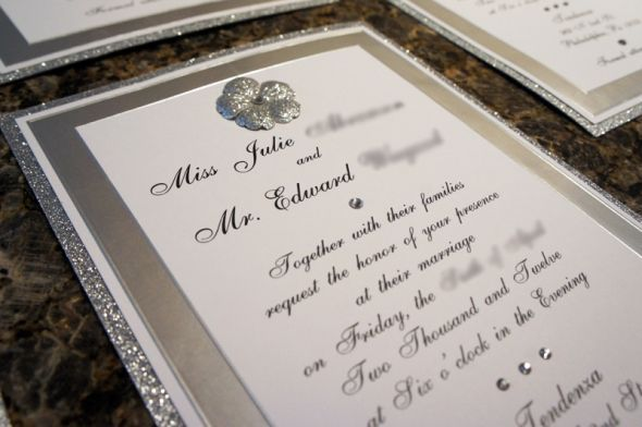 Bling Bling DIY Invites :) :  wedding bling crystal diy invitations ivory rhinestone silver slitter white Bee2