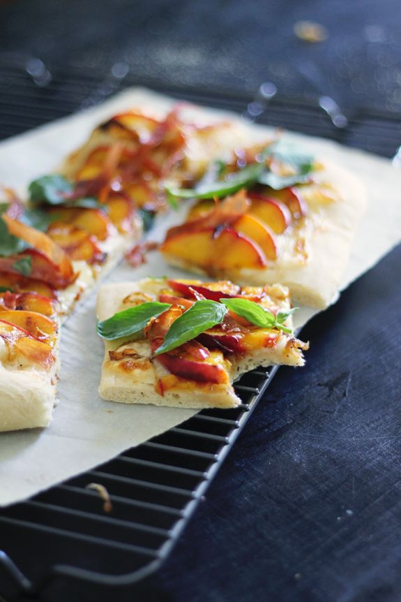 "Peaches, basil, mozzarella cheese, caramelized onions, & prosciutto on your favorite pizza dough.  Yum.  I bet it would make a great dessert pizza using peaches, cinnamon, and basil on sugar cookie dough. Thank you ""Say Yes to Hoboken"" for the pizza recipe."