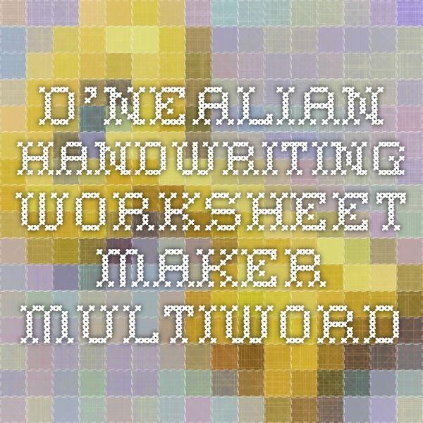 D'Nealian Handwriting Worksheet Maker - Multiword for Iz ...