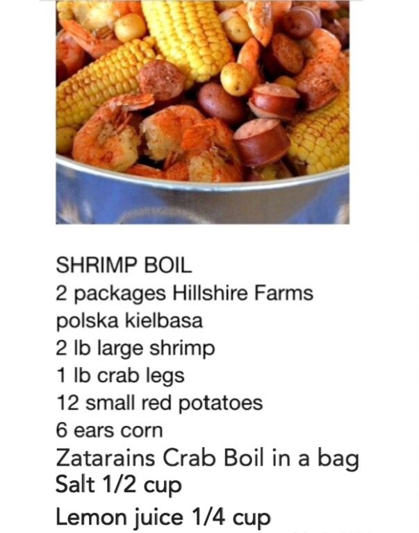 Place potatoes & sausage in pot & cover with water. Add Zatarain's crab boil in a bag. 1/2 cup of Salt. You can also add lemon juice 1/4 cup. Bring to a boil then reduce to a simmer for 15min. Then add crab legs and corn. Last 10 Add shrimp cook about 6 more min. Shrimp will be pink when done. Drain & serve.