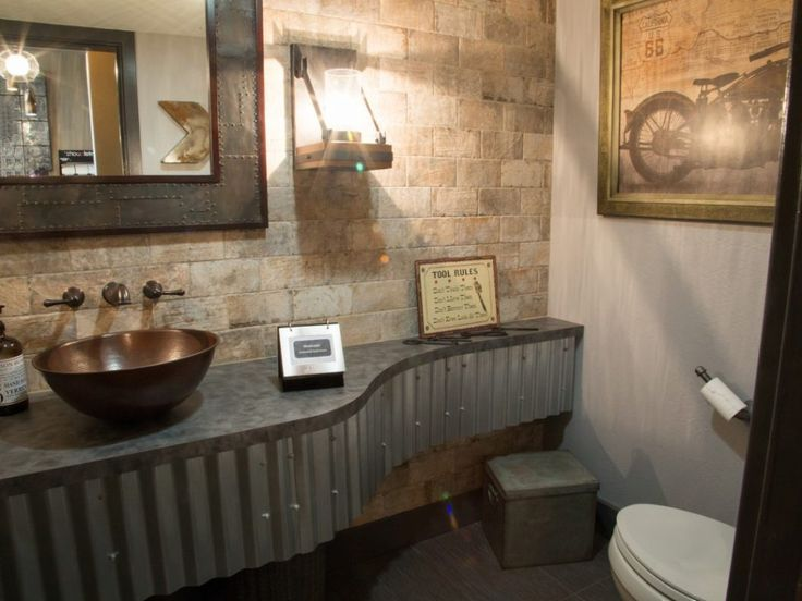 Bathrooms Industrial Style Bathrooms Decorating Ideas Gray Stain Wall Featuring Gray Stain