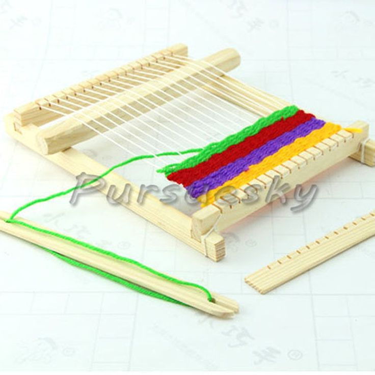 Knitting Looms Wood : Wood knitting loom with yarn shuttle comb handmade tool