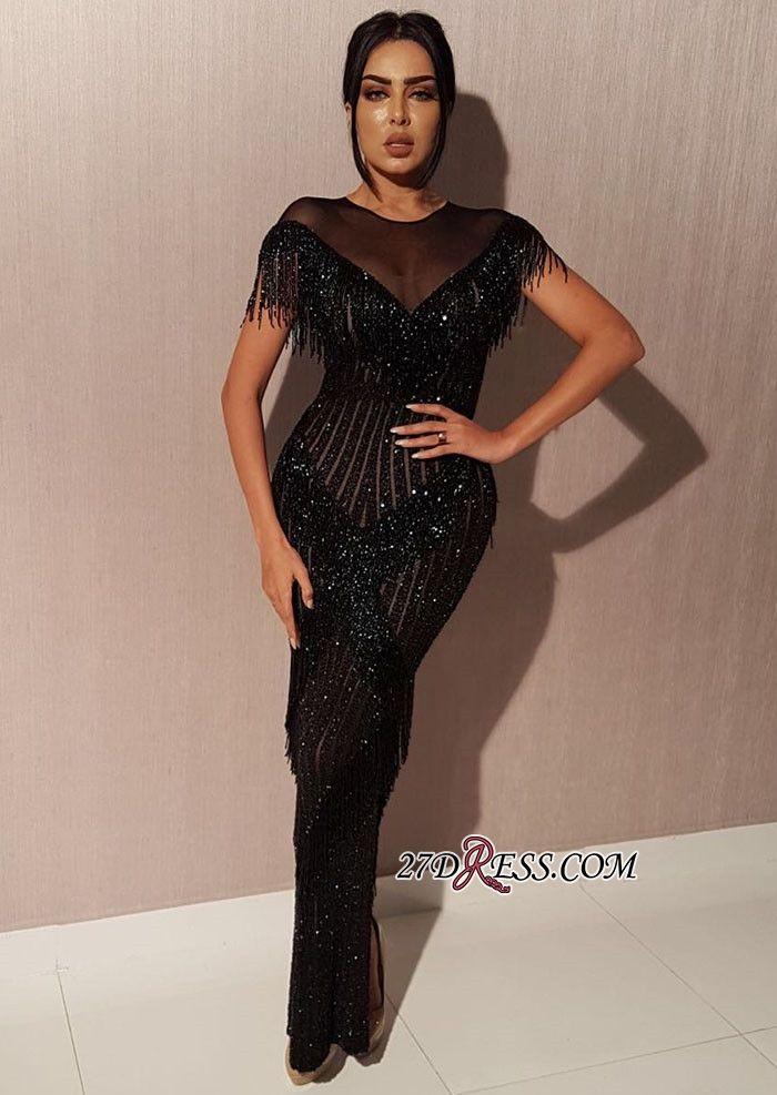 Elegant Black Short Sleeves Mermaid Floor-length Prom Gown  036616bb952d