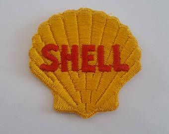Vintage 1950's new old stock Shell Gas Station embroidered uniform patch, beautiful color and condition