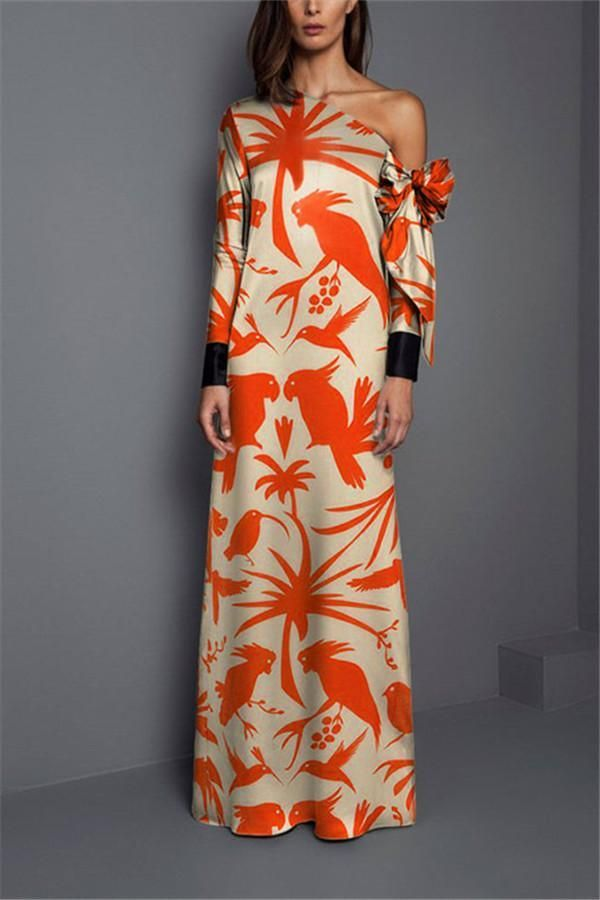Women One Shoulder Floral Print Vintage Maxi Dress 2