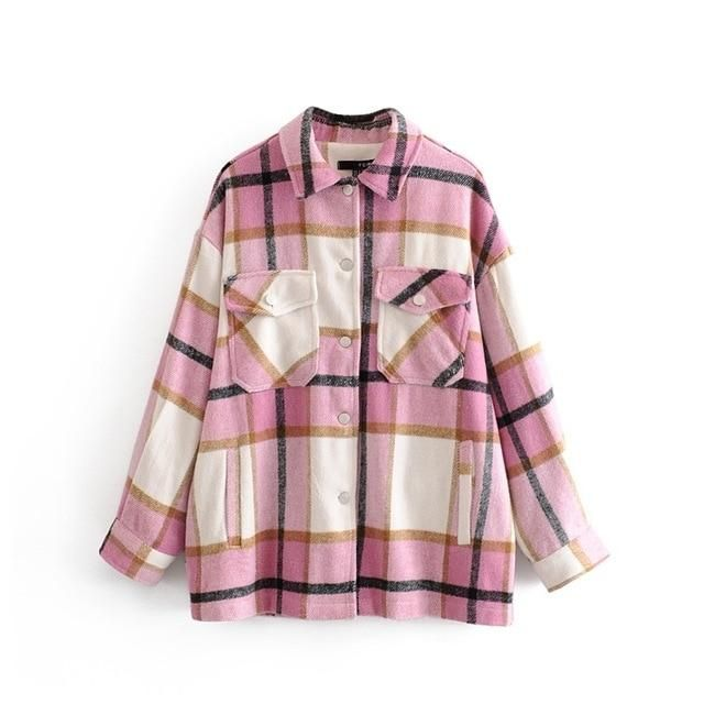 Winter Women Green Red Pink Plaid Long Coat Jacket Casual High Quality Warm Overcoat Fashion Long Coats For Women Plaid Coat, Plaid Jacket, Shirt Jacket, Tweed Coat, Plaid Flannel, Moto Jacket, Polo Shirt, Coats For Women, Jackets For Women