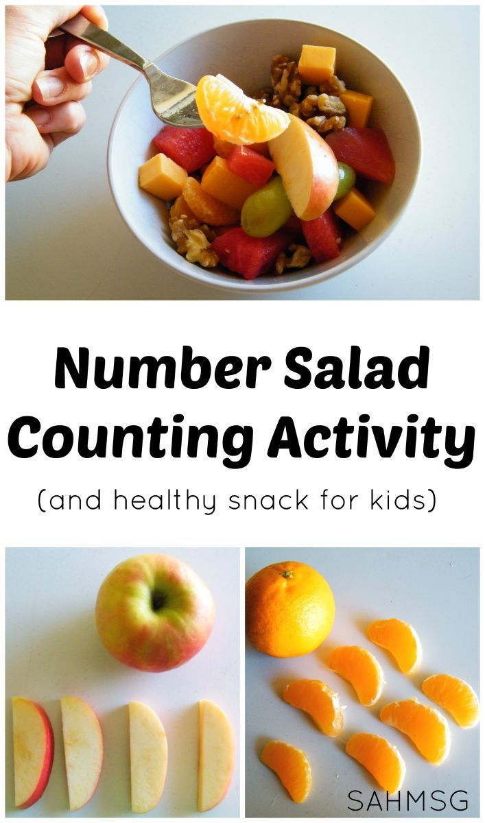 Counting activity and healthy snack for kids-make Number Salad! Free printable recipe cards for kids to follow.
