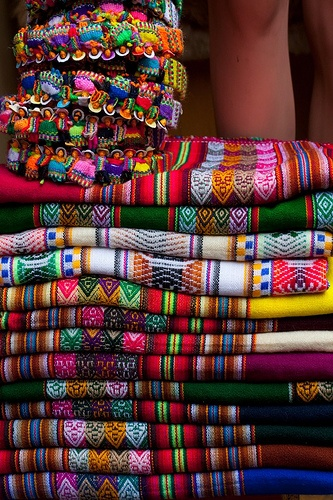the colorful crafts found in the many markets of Peru