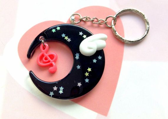 Black Mahou Kei Moon Keychain With Kawaii Angel Wing by CreaBia