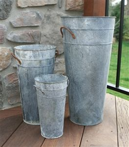 French Flower Bucket - Aged Zinc  Quantity Discount: 10% on 6 or more, 15% on 18…