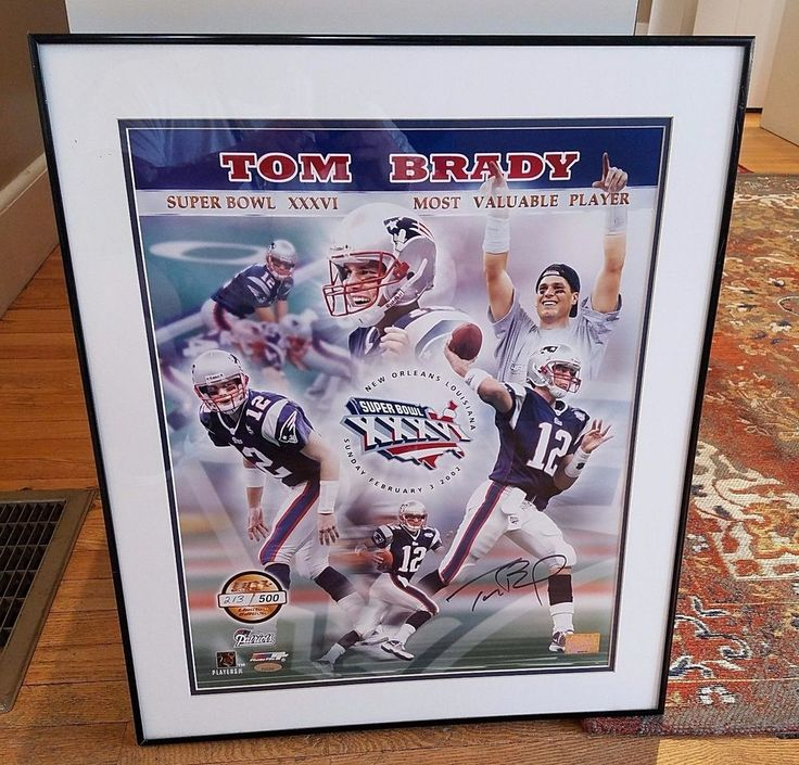 TOM BRADY AUTOGRAPH COLOR FRAMED SUPER BOWL XXXVI MVP TRI STAR /500 PHOTO-COA #NewEnglandPatriots