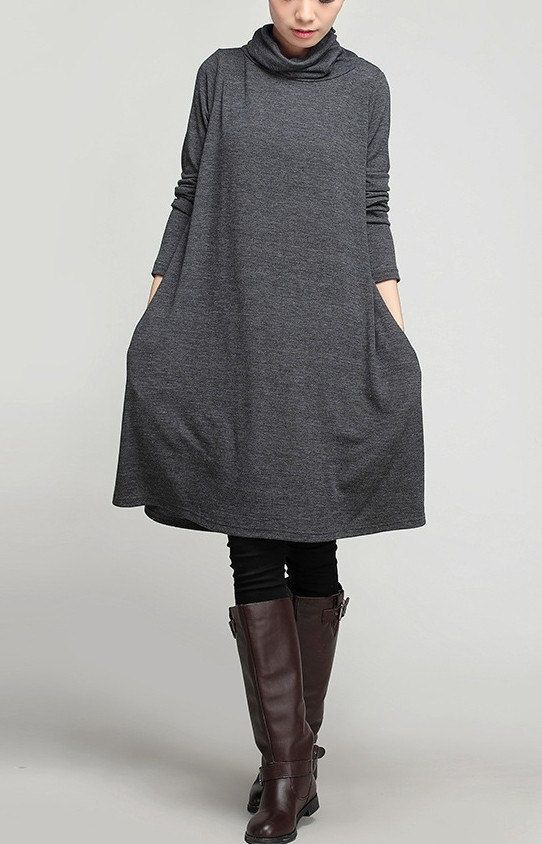 2-color Loose fitting Maxi dress - Spring, Autumn dress Long sleeve Cotton dress Linen dress for Women C242: