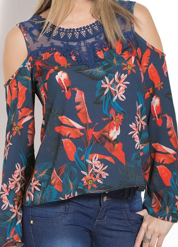 Blusa Ombros Vazados Floral e Detalhe em Renda - Posthaus
