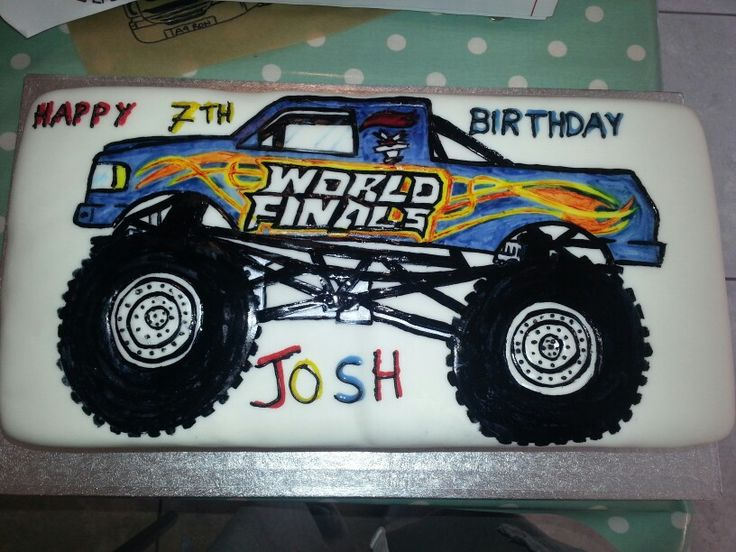 Monster truck bday cakr