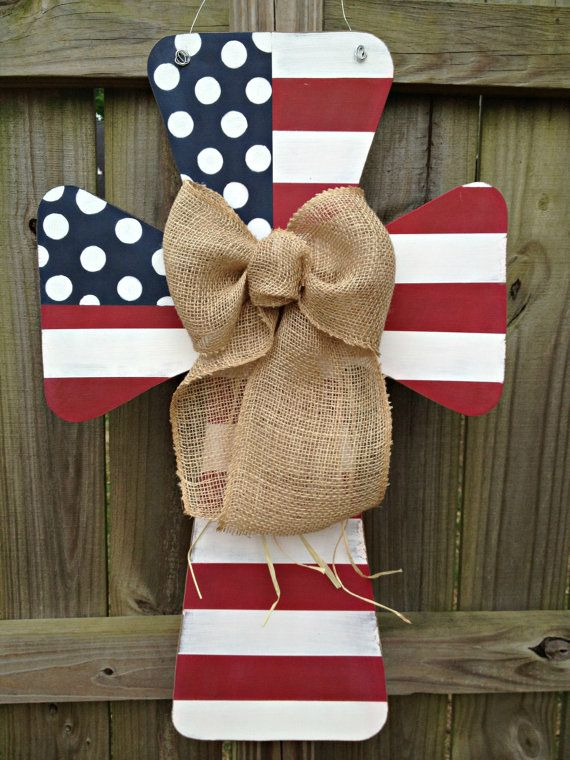 Custom Flag Wooden Cross Door Hanger