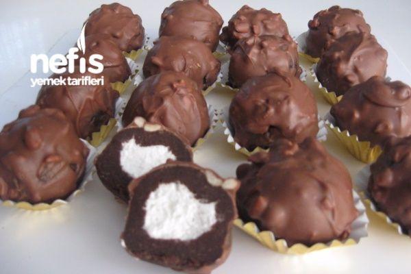 Şanti Dolgulu Çikolatalı Kek Topları
