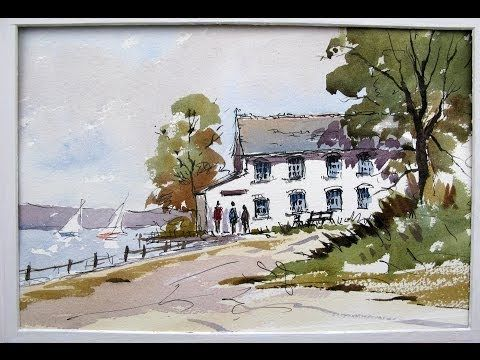 A Line and Wash watercolour tutorial by Peter Sheeler, quick and easy style. - YouTube