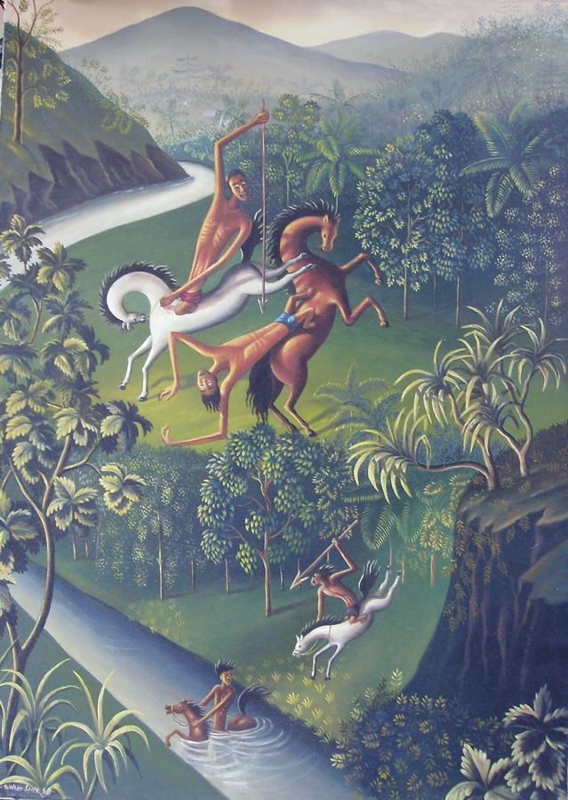 For sale | Balinese Legend, oil on canvas, repro of Walter Spies, 95 x 135 cm