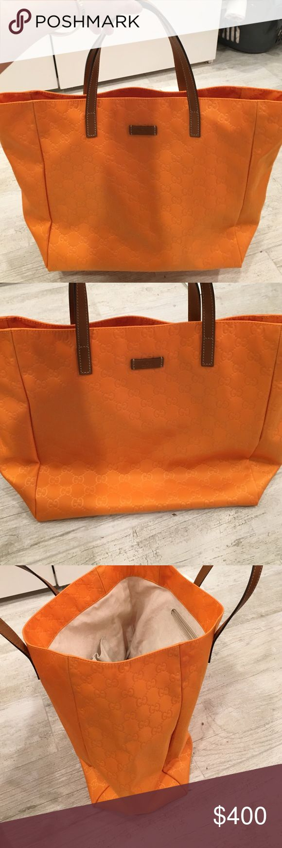 Gucci orange guccisma nylon tote Gucci guccisma orange tote with brown handles. New with tags, never worn. Unstructured tote bag, handle drop is long enough to wear as shoulder bag or carried on elbow. No trades. Gucci Bags Totes
