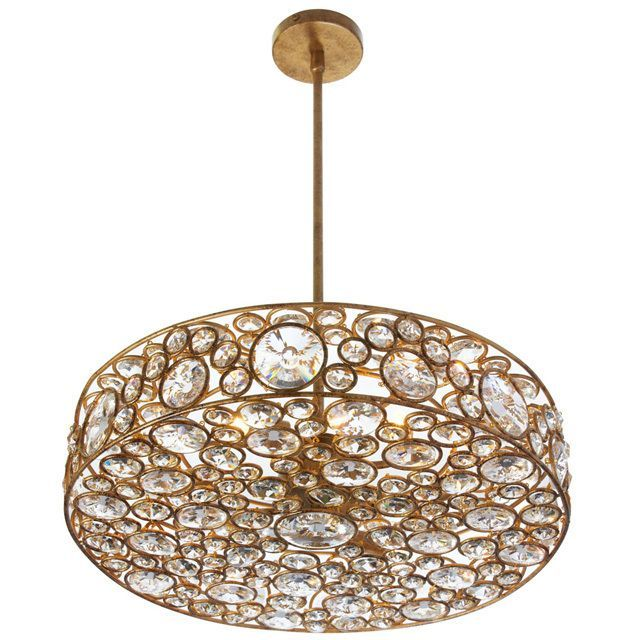 Featuring six lights, this interesting and transitional designed pendant is surrounded by crystals placed within gold framing. Requires six 40W LED bulbs.<br \> <br \> <ul \><li>Number of Light: 6 Lig...