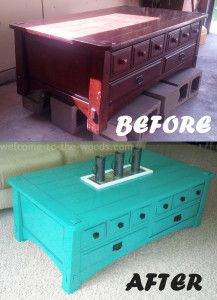 Coffee Table makeover painted teal with black accents. Before and After furniture transformation. PIN NOW!