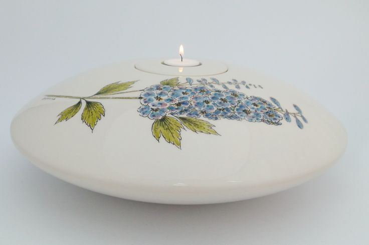 Hand painted cremation urn with waxlight on top - Delphinium flower - Phoenix Urns