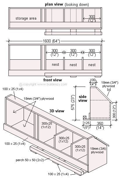 Chicken Nest Boxes plans.  This one includes storage.  Nice.