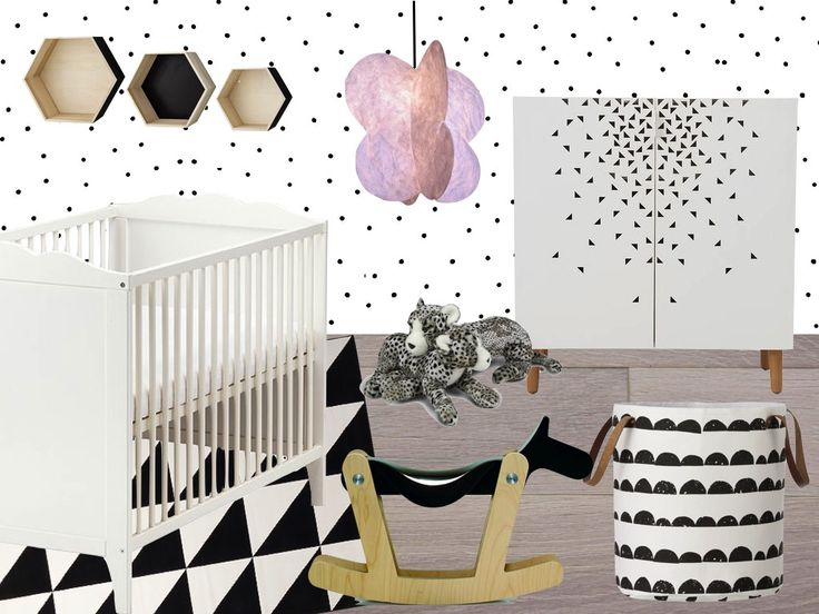 black and white baby girl room