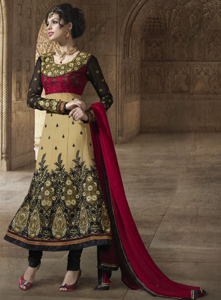 Fawn and Black Embroidered Suit https://www.ethanica.com/products/fawn-and-black-resham-embroidered-churidar-kameez-set