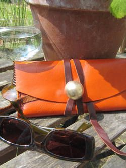 Orange Leather Purse With Tie | Buy Now