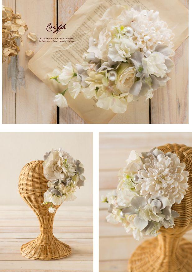 クリームローズアンティークグレーパールトーク帽/ヘッドドレス 商品詳細 花冠やウェルカムボードなど手作りで制作します ウェディングのお店 Cocochi Mille