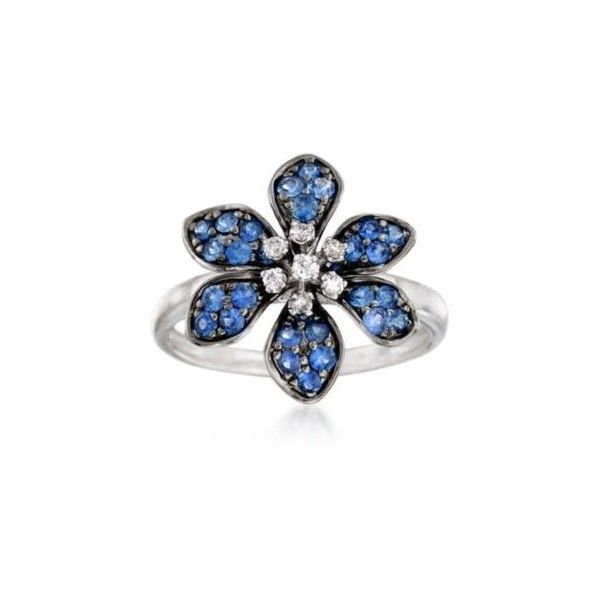 Ross-Simons Sapphire Flower Ring, Diamond Accents in Gold. Size 5,... (72880 RSD) ❤ liked on Polyvore featuring jewelry, rings, gold sapphire ring, yellow gold flower ring, gold flower ring, gold jewellery and gold cocktail rings