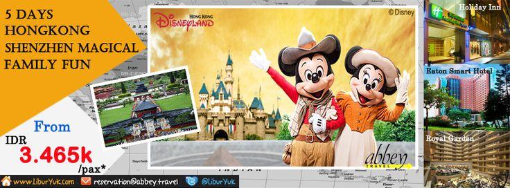 Bingung liburan mau kemana?Kini kami sediakan paket 5 Hari Hongkong-Shenzhen Magical Family Fun.Disini Anda dan keluarga anda akan diajak city tour mengunjungi Victoria Peak (Top Level), Avenue Stars, Repulse Bay,dan masih banyak tempat lainnya serta Disneyland sehari penuh.Yuk booking paketnya sekarang juga dan dapatkan diskon spesialnya!  Dapatkan Special Paket tersebut dari LiburYuk.com di http://liburyuk.com/promotional-package/book/36074653/5D-HONGKONG-SHENZHEN-MAGICAL-FAMILY-FUN