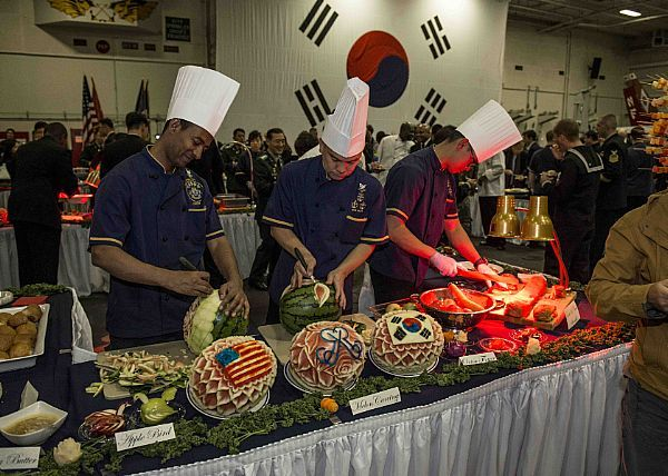 53 best navy food and flavor images on pinterest military sailors prepare dinner during the arrival ceremony of the us navys only forward deployed aircraft forumfinder Images