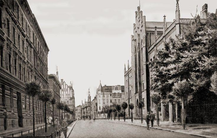 Bytom przed laty. Ulica Gimnazjalna - nazwa pochodziła od widocznego po prawej stronie Gimnazjum - obecnie ma za patrona Stanisława Moniuszkę.