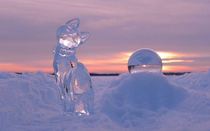 ледяные скульптуры, ледовые фигуры, снег, кошка, шар, закат, зима