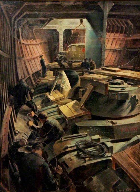 Loading Tanks for Russia II by Leslie Cole IWM (Imperial War Museums)      Date painted: 1942     Oil on canvas, 52.7 x 39.3 cm     Collection: IWM (Imperial War Museums)